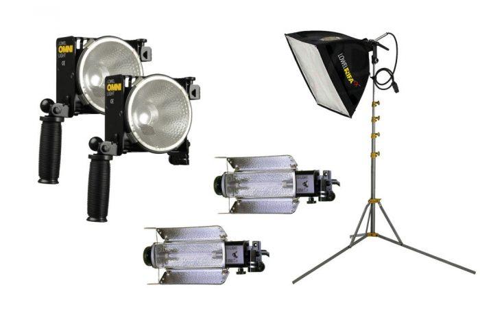 Kit maleta Lowel 5 luces alquiler  Incluye: – 2 Omni – 2 Totas – 1 Rifa lite – 5 Tripodes – Maleta