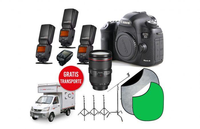 Combo TC 08 – Canon 5D Mk3 + Canon 24-105 + 3 Flash Yongnuo  + Fondos