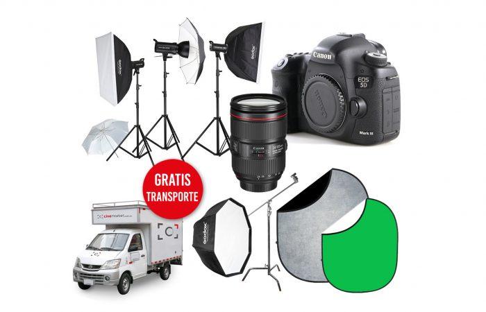 Combo TC 09 – Canon 5D Mk3 + Canon 24-105 + 3 Flash GODOX SK400  + Fondos alquiler