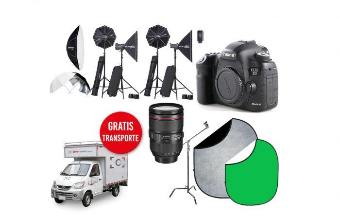 Canon 5D Mk3 + Canon 24-105 + 4 Flash Elinchrom + Fondos alquiler